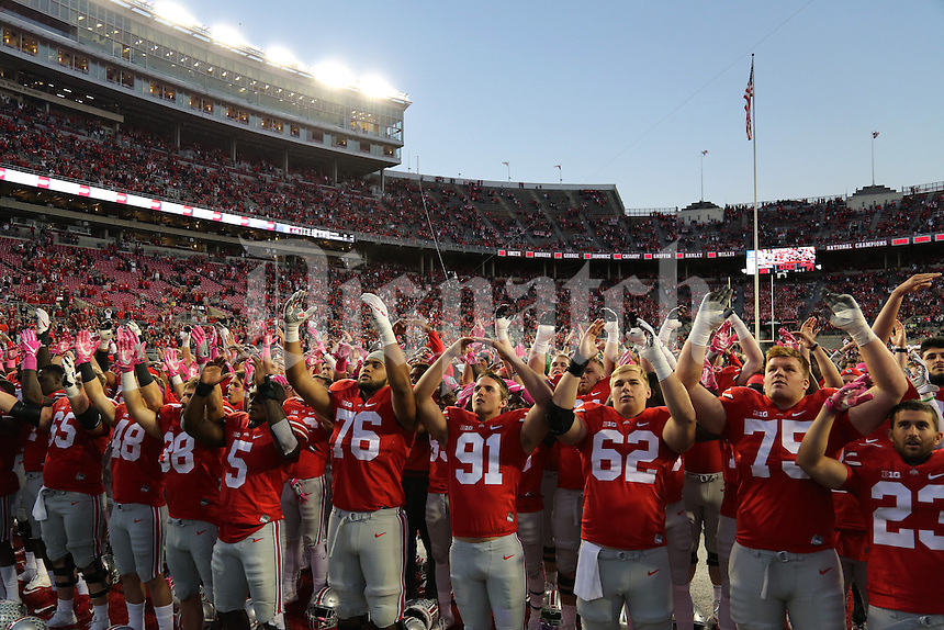 """Ohio State Buckeyes players sing """"Carmen Ohio"""" following their 38-17 against the Indiana Hoosiers on Saturday, October 8, 2016 at Ohio Stadium in Columbus, Ohio. (Joshua A. Bickel/The Columbus Dispatch)"""