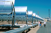 Solar Power Plant, Dagget, California, pilot plant, concave mirrors heat pipes filled with oil which are circulated to a central boiler, SEGS (solar energy generating systems), Parabolic reflectors. California USA.