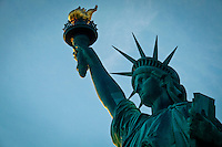 General view of the statue of Liberty in New York, 9/01/12. New York City, with a population of over 8.1 million, is the most populous city in the United States. It is known for its status as a financial, cultural, transportation, and manufacturing center, and for its history as a gateway for immigration to the United States.   Photo by Eduardo Munoz Alvarez / VIEWpress.
