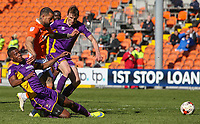 Blackpool's Kyle Vassell is tackled by Cheltenham Town's Liam Davis<br /> <br /> Photographer Alex Dodd/CameraSport<br /> <br /> The EFL Sky Bet League Two - Blackpool v Cheltenham Town - Saturday 22nd April 2017 - Bloomfield Road - Blackpool<br /> <br /> World Copyright &copy; 2017 CameraSport. All rights reserved. 43 Linden Ave. Countesthorpe. Leicester. England. LE8 5PG - Tel: +44 (0) 116 277 4147 - admin@camerasport.com - www.camerasport.com