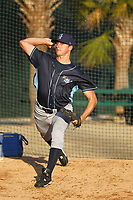 Wilmington Blue Rocks pitcher A.J. Puckett (19) throwing in the bullpen before a game against the Myrtle Beach Pelicans at Ticketreturn Field at Pelicans Ballpark on April 26, 2017 in Myrtle Beach, South Carolina. Myrtle Beach defeated Wilmington 7-3. (Robert Gurganus/Four Seam Images)