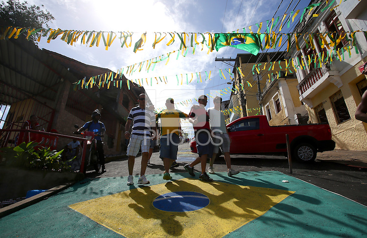 A street decorated in the colours of Brazil in Salvador, one of the 12 host cities of the 2014 FIFA World Cup