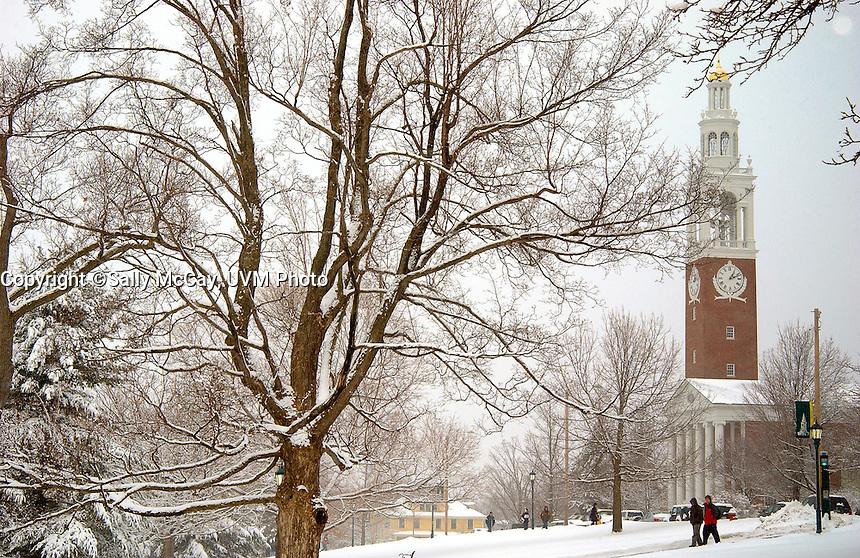 Ira Allen Chapel and the UVM Green, Winter UVM Campus