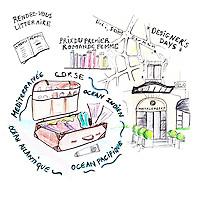 "Illustration for ""Ma valise "" for Myriam Kournaf, director of the Hotel Montalembert, by Oceane Buret"