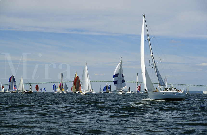 Newport, Rhode Island.Sailing on Narraganset Bay, a very popular pastime in the opulent and nautically inclined Newport are