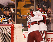 Luke Esposito (Harvard - 9), Alexander Kerfoot (Harvard - 14) - The Harvard University Crimson defeated the Northeastern University Huskies 4-3 in the opening game of the 2017 Beanpot on Monday, February 6, 2017, at TD Garden in Boston, Massachusetts.