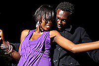Raychelle, 21, PR and advertising student  and Evans Ndega, model, dancing.