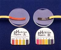 pH TEST PAPER: UNIVERSAL INDICATOR PAPER<br /> Universal Indicator Paper<br /> &quot;A&quot; HYDRION PAPER shows even pH. &quot;B&quot; HYDRION PAPER shows odd pH.