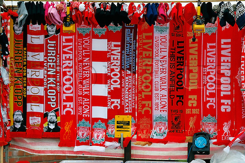30.01.2016. Anfield, Liverpool, England. Emirates FA Cup 4th Round. Liverpool versus West Ham. A general view of merchandise on sale outside the stadium