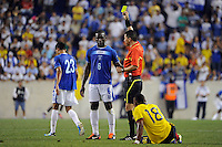 Hendry Thomas (6) of Honduras receives a yellow card from referee Jorge Gonzalez. The men's national teams of Colombia (COL) defeated Honduras (HON) 2-0 during an international friendly at Red Bull Arena in Harrison, NJ, on September 03, 2011.