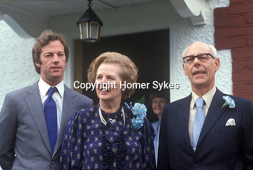 Mrs Thatcher, Mark and Denis Thatcher out side their Chelsea home 1980s. Uk
