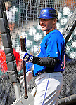 17 March 2009: New York Mets' infielder Jose Valentin awaits his turn in the batting cage prior to a Spring Training game against the Atlanta Braves at Disney's Wide World of Sports in Orlando, Florida. The Braves defeated the Mets 5-1 in the Grapefruit League matchup. Mandatory Photo Credit: Ed Wolfstein Photo