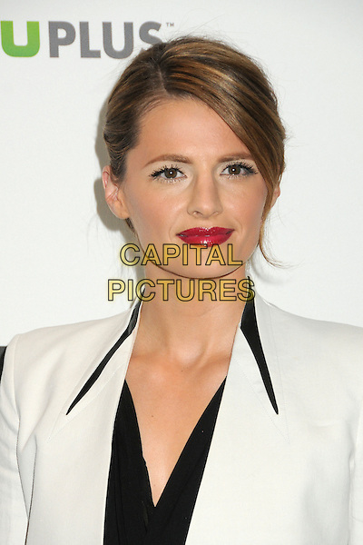 "Stana Katic.PaleyFest 2012 Presents ""Castle"" held at The Saban Theatre, Beverly Hills, California, USA, 9th March 2012..portrait headshot lipstick hair up  jacket white  black red .CAP/ADM/BP.©Byron Purvis/AdMedia/Capital Pictures."