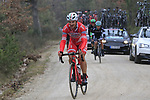 The backmarkers on gravel sector 2 Bagnaia during the 2017 Strade Bianche running 175km from Siena to Siena, Tuscany, Italy 4th March 2017.<br /> Picture: Eoin Clarke | Newsfile<br /> <br /> <br /> All photos usage must carry mandatory copyright credit (&copy; Newsfile | Eoin Clarke)