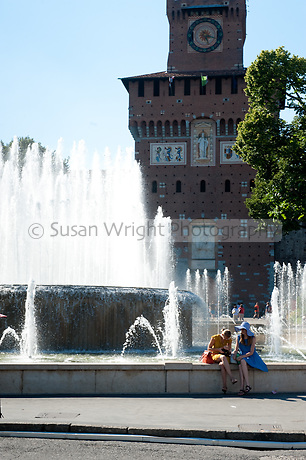 Fontana or Fountain of Castello Sforzesco, Milan, Italy