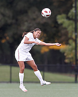Harvard University forward Erika Garcia (7) heads the ball. In overtime, Harvard University defeated Yale University,1-0, at Soldiers Field Soccer Stadium, on September 29, 2012.