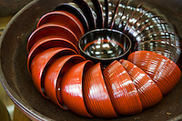 Japanese Lacquer Bowls - Hida shunkei lacquer work is characterized by the simple beauty of bark from trees such as Japanese cypress and Japanese horse chestnut trees, and a coating technique using a slightly transparent light yellow lacquer. Tiered boxes, trays, vases, tea service utensils,  dishes and other items are now produced in the city of Takayama