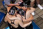 23 MAR 2012: Swimmers from Williams College celebrate after the women's 800 yard freestyle relay event during the Division III Men's and Women's Swimming and Diving Championship held at the IU Natatorium in Indianapolis, IN. Williams won the event with a new NCAA record time of 7:18:15.  Joe Robbins/NCAA