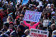"""Washington, DC - January 27, 2017: A woman holds a sign the reads """"Babies Need Love and Life"""" as tens of thousands of people participate in the annual March for Life Rally on the National Mall in the District of Columbia, January 27, 2017.  (Photo by Don Baxter/Media Images International)"""
