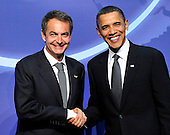 United States President Barack Obama welcomes President José Luis Rodríguez Zapatero of Spain to  the Nuclear Security Summit at the Washington Convention Center, Monday, April 12, 2010 in Washington, DC. .Credit: Ron Sachs / Pool via CNP