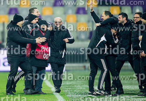 Zlatko Zahovic of Maribor and Ante Simundza, head coach of Maribor celebrate after winning during football match between NK Maribor and Wigan Athletic FC (ENG) in Round 6 of Group D of UEFA Europa League 2014, on December 12, 2013 in Stadion Ljudski vrt, Maribor, Slovenia. Maribor won against Wigan 2-1 and qualified to next Stage. Photo by Vid Ponikvar / Sportida