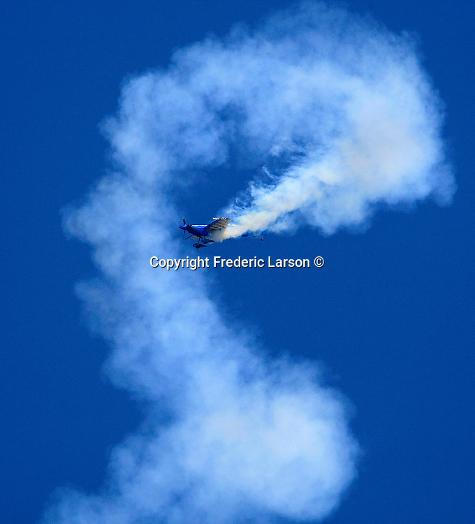 Airplanes perform during fleet week in San Francisco, California.