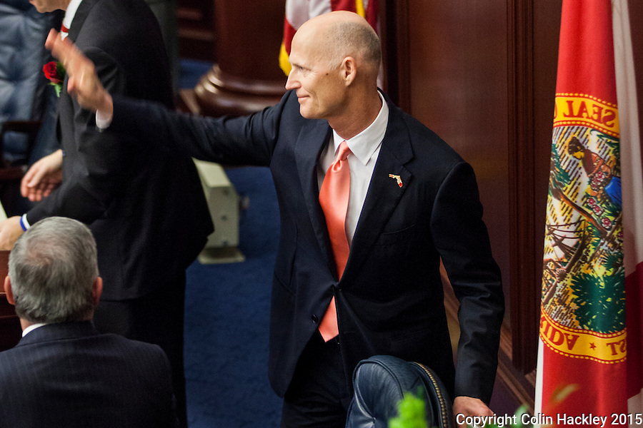TALLAHASSEE, FLA. 3/3/15-Gov. Rick Scott waves as after completing the State of the State address during the opening day of the 2015 Legislative Session Tuesday at the Capitol in Tallahassee.<br /> <br /> COLIN HACKLEY PHOTO