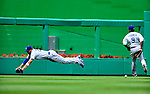 25 April 2010: Los Angeles Dodgers' center fielder Matt Kemp dives for a Cristian Guzman fly ball but comes up short in the sixth inning against the Washington Nationals at Nationals Park in Washington, DC. The Nationals shut out the Dodgers 1-0 to take the rubber match of their 3-game series. Mandatory Credit: Ed Wolfstein Photo