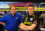 May 6, 2012; Commerce, GA, USA: NHRA ESPN Host (left) with top fuel dragster driver Morgan Lucas during the Southern Nationals at Atlanta Dragway. Mandatory Credit: Mark J. Rebilas-