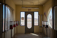 Morocco - Ouarzazate - The interior of a prop gas station located in the outskirts of Ouarzazate on the road to Agadir. Its décor was used in The Hills Have Eyes, a 2006 American horror movie recounting the ordeal of a family being attacked by a group of nuclear-contaminated mutants. Although set in the New Mexico desert, the movie was entirely shot in Morocco.