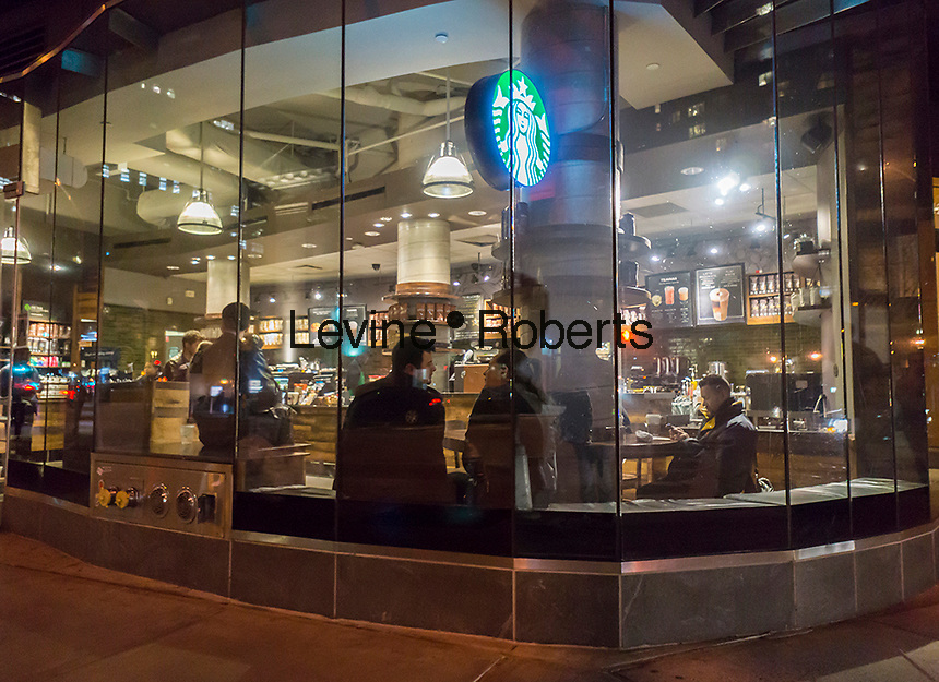 A Starbucks in Greenwich Village in New York on Tuesday, March 29, 2016.  (© Richard B. Levine)