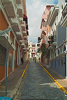 Old San Juan, Historic Colonial Section, Puerto Rico, USA, Narrow, Cobble Stone, Streets, Colorful, Houses
