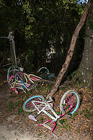 Children's bicycles in a heap by the trailer in Ravenel Mobile Home Park, where Betty Mungin, 55; Alexis Mungin, 29 and her unborn twins; and Armani Mungin, 8 were shot and killed in May 2016. Kenneth Lamar Ancrum, 23, faces 5 murder charges in their shooting deaths in RAVENEL, SC on Thursday, July 7, 2016. (Justin Cook)