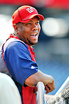 21 June 2011: Washington Nationals pitcher Livan Hernandez watches batting practice prior to a game against the Seattle Mariners at Nationals Park in Washington, District of Columbia. The Nationals rallied from a 5-1 deficit, scoring 5 runs in the bottom of the 9th, to defeat the Mariners 6-5 in inter-league play. Mandatory Credit: Ed Wolfstein Photo