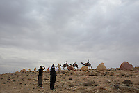 Ultra orthodox family take a ride on a camel next to the city of Mitzpe Ramon.  Photo by Oren Nahshon