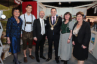 NO FEE PICTURES.25/1/13 Maureen Ledwith, Director Holiday World, Lord Mayor of Dublin is Naoise Ó Muirí and Clare Dunne, President ITAA with Eva Sprinzl and Wilhelm Nest at the Holiday World Show at the RDS, Dublin. Picture:Arthur Carron/Collins