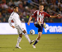 DC United defender Barry Rice battles with CD Chivas USA forward Justin Braun. CD Chivas USA beat DC United 1-0 at Home Depot Center stadium in Carson, California on Sunday August 29, 2010.