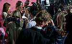 Press speak to Victoria's Secret Angels Alessandra Ambrosio, left, Lily Aldridge and Miranda Kerr before the start of 2011 Victoria's  Secret Fashion Show viewing party at the Samueli Theater at the Segerstrom Center of the Arts.