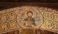 Christ in Majesty, intrados mosaics of the Saracen arches of the Cappella Palatina (Palatine Chapel), 1130 - 1140, by Roger II, within the Palazzo dei Normanni (Palace of the Normans), Palermo, Sicily, Italy. Picture by Manuel Cohen