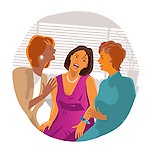 Three female friends laughing together