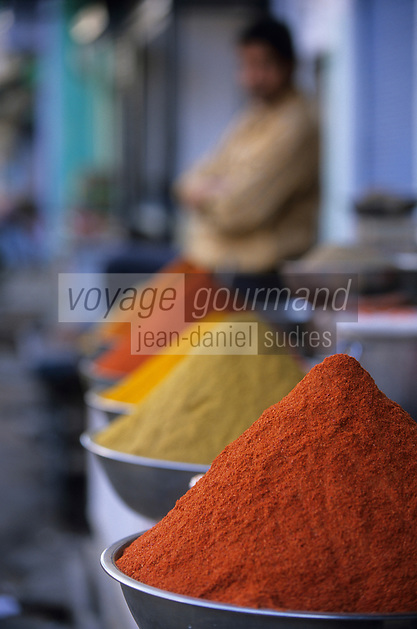 Asie/Inde/Rajasthan/Udaipur: Marché Mandi - Détail étal d'épices