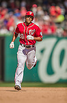 6 April 2014: Washington Nationals shortstop Ian Desmond rounds the bases after hitting a solo home run in the 7th inning against the Atlanta Braves at Nationals Park in Washington, DC. The Nationals defeated the Braves 2-1 to salvage the last game of their 3-game series. Mandatory Credit: Ed Wolfstein Photo *** RAW (NEF) Image File Available ***