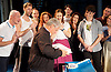 Sir Cameron Mackintosh's celebrates his 70th Birthday <br /> at the Noel Coward Theatre, London, Great Britain <br /> 17th October 2016 <br /> <br /> with the cast of Half a Sixpence <br /> <br /> singing him Flash, Bang, Wallop and Happy Birthday <br /> <br /> with a birthday cake in the shape of a banjo <br /> and presented with a book / photo album by the theatre management <br /> <br /> <br /> Photograph by Elliott Franks <br /> Image licensed to Elliott Franks Photography Services