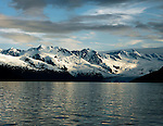 Mountains surrounding Prince William Sound out of Whitter, Alaska, are snowy even in the summer.