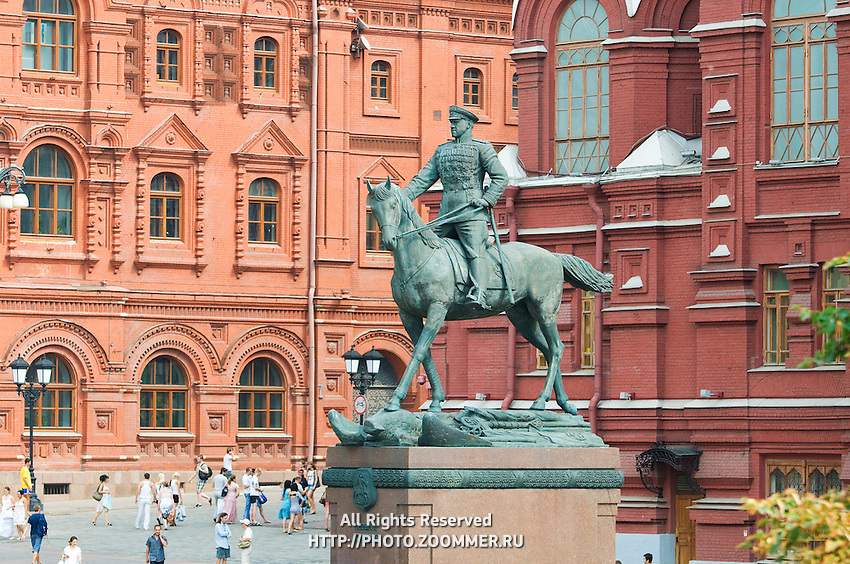 The Marshall Zhukov monument (statue) near the Red Square, Moscow