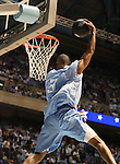 "13 October 2006: UNC's Alex Stepheson makes a reverse slam dunk. The University of North Carolina at Chapel Hill Tarheels held their first Men's and Women's basketball practices of the season as part of ""Late Night with Roy Williams"" at the Dean E. Smith Center in Chapel Hill, North Carolina."