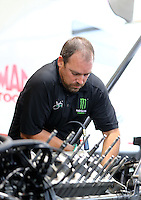 Oct 2, 2016; Mohnton, PA, USA; Crew member for NHRA top fuel driver Brittany Force during the Dodge Nationals at Maple Grove Raceway. Mandatory Credit: Mark J. Rebilas-USA TODAY Sports