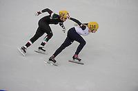 OLYMPICS: SOCHI: Iceberg Skating Palace, 13-02-2014, Shorttrack, 500m Relay Ladies, Finals, Arianna Fontana (#124 | ITA), Elise Christie (#116 | GBR), ©photo Martin de Jong