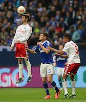 FUSSBALL   1. BUNDESLIGA   SAISON 2012/2013    31. SPIELTAG FC Schalke 04 - Hamburger SV          28.04.2013 Jacopo Sala (li) und Michael Mancienne (re, beide Hamburger SV) gegen Klaas Jan Huntelaar (Mitte, FC Schalke 04)