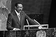 29 May 1978, New York, New York, USA --- The Angolan Prime Minister, Lopo Fortunato Ferreira do Nascimento, speaking at a special session of peace talks during the 10th UN General Assembly on Disarmament. The talks took place between 23rd May and 30th June 1978. --- Image by © JP Laffont